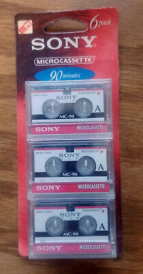 PACK OF 6 NEW SEALED! SONY MC-90 MICROCASSETTE 90 MINUTES EACH TAPE