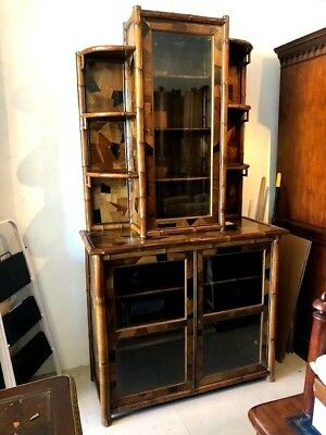 Large Antique Bamboo Bookcase Glass Doors English Mixture of Woods Ebony etc