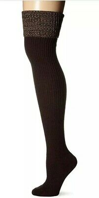 cf14abcb3 Hue Womens OTK Over The Knee Socks Brown Boot Slouchy Ribbed Space Dye O S