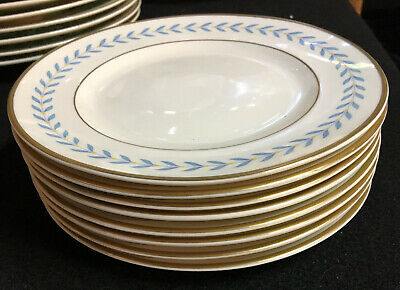 "8 Unused 6 1/4"" Bread and butter plates Sherwood Old Ivory Laurel blue"
