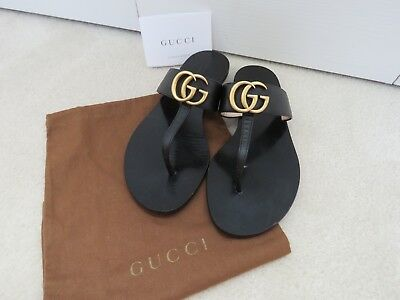 425348bd7 Gucci Marmont Gold Gg Logo Black Leather Thong Sandals Flip Flops 37 7  Authentic