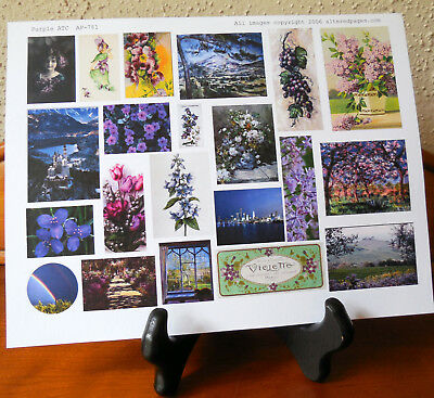 Collage Sheet Mini Images Purple ATCs Tags Junk Journal Mixed Media Card Making