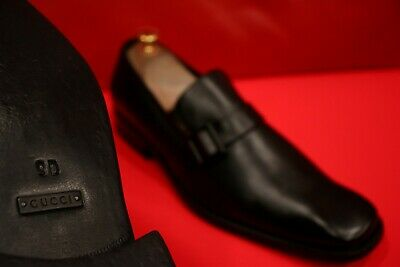 $979.00 !! Gucci Rare Exclusive Men  Black Leather Side Bit's Loafers Size 9 D
