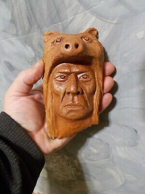 Wood Carving, Wood Spirit, Native American Indian Soldier