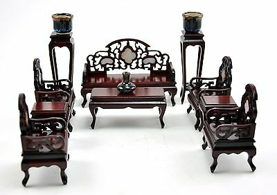 Vintage Chinese CHAIR INLAY miniature DOLL furniture Complete Set Bench Handmade