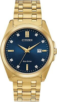 Citizen BM7103-51L Men's Eco Drive Corso Gold Tone Diamond Blue Dial Watch