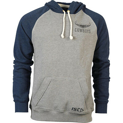 NQ Cowboys NRL ISC Players Gray Fleece Pull Over Hoody Sizes S-5XL! 6