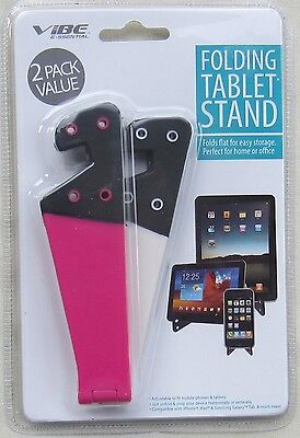 2 Pack VIBE ESSENTIALS Folding Tablet Stand Pink White Pink