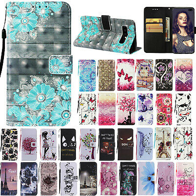 For Samsung Galaxy S10/S10+/S10e Magnetic Pattern Leather Card Wallet Case Cover