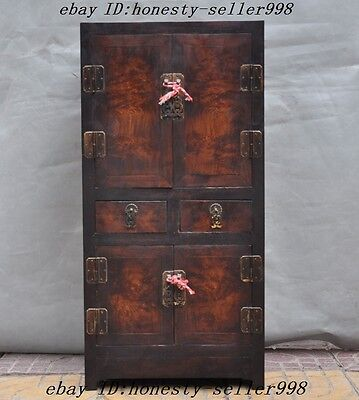 Collect Old Chinese Huanghuali Wood Hand Craved Lockers Cabinet Drawer Container