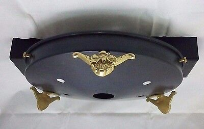 Matte black light gallery with gold Victorian accents Art Deco Vintage 8 1/2""