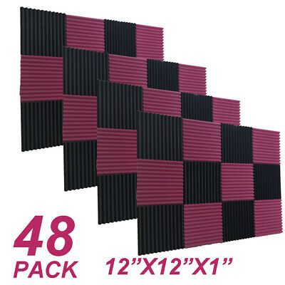 "48Pack 12""X12""X1""  Acoustic Foam Panel Studio Soundproofing Wall Tiles"
