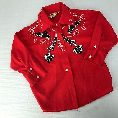 Vtg 50s 60s H Bar T Western Shirt Embroidered Pearl Snap Buttons Youth Kids