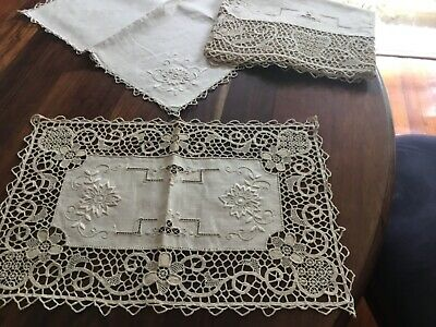 Antique Point De Venise Runner Placemats 8 Serviettes 8 lace needlework