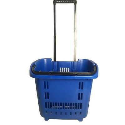 1X Plastic Blue Rolling Shopping Baskets with 2 wheels