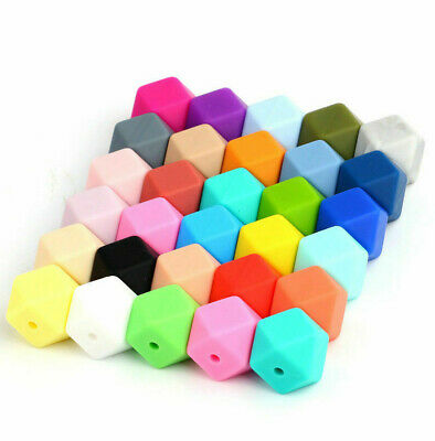 50Pcs 17mm Hexagon Silicone Beads DIY Teether Toy Teething Baby Chewable Jewelry