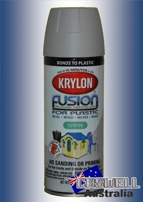 Krylon Fusion Plastic Paint 340gm - Pewter Grey Satin- AUS Seller
