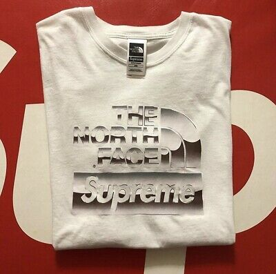 320b668a Supreme Tnf The North Face White Metallic Box Logo Tee M Medium SS18