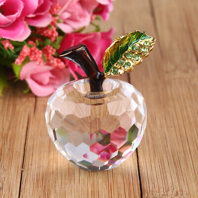Clear Cut 40mm Crystal Glass Apple Ornament Paperweight Home Wedding Decoration