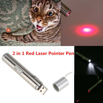 2 In 1 USB Rechargeable Red Laser Pointer Pen With White LED Light Cat Toy Gift