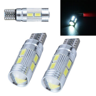 2x T10 10 LED 5630 SMD W5W Xenon White Side Light Wedge Tail Lamp Bulb 6500K