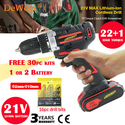 Heavy Duty Cordless Drill Impact Driver Electric Fast Charger 21V Powerful Set
