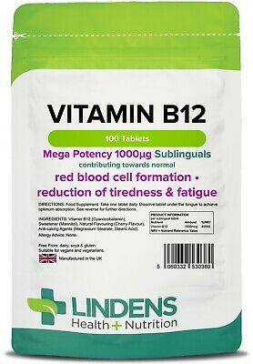 Vitamin B12 1000mcg Sublingual Tabletten (100er Pack) [Linden 0380]