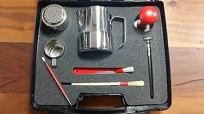 BEAUTIFUL BARISTA BOX BLACK - ESPRESSO RED ACCESSORIES KIT MADE in ITALY!!
