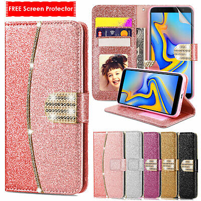 Bling Glitter Wallet Flip Leather Phone Case Cover For Samsung Galaxy J3 j4 Plus