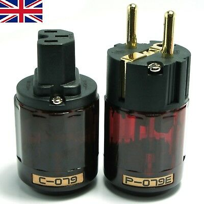 1 Pair Gold Plated C-079 +P-079e Schuko Europe EU Power Plug IEC Audio Connector