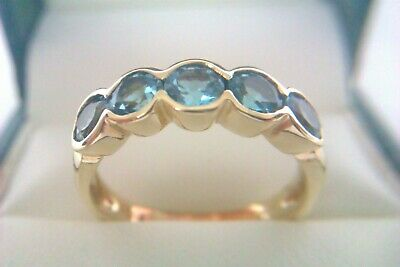 Beautiful Vintage 9ct Gold & Electric Blue Gemstone Ladies Ring Circa 2002