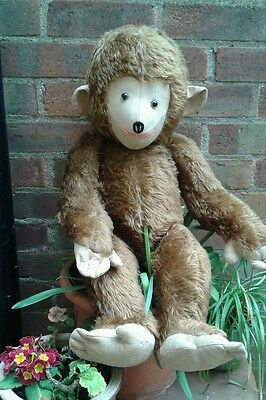 """Antique vintage large jointed brown MOHAIR monkey Chimp 28"""""""