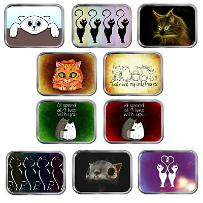 Cat Art 2oz Silver Tin Tobacco Storage 10 different designs Jewellery Sewing