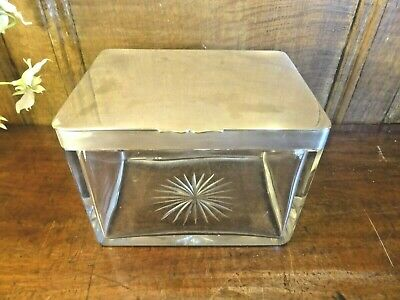 ANTIQUE CUT GLASS & Silver Plated BISCUIT BOX - HINGED LID - JOHN GRINSELL c1870