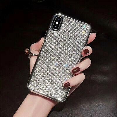 Bling Glitter Crystal Silver Cute Protective Full Diamond Case Cover For iPhone