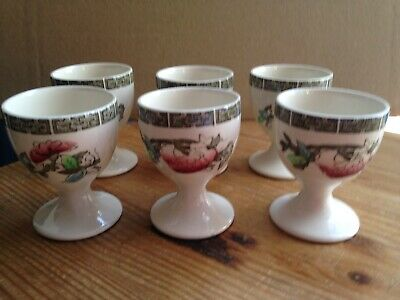 6 Johnson Bros Egg Cups in the Indian Tree Pattern