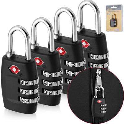 4 x TSA Lock Travel Luggage 3 Digit Combination Resettable NEW (4 pc) USA Seller