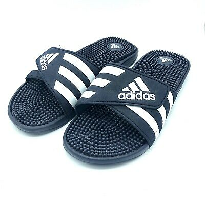 89e48f6cd990 New Adidas Adissage 078261 Men s Navy   White Flip Flops Sandals Slides  Size 10