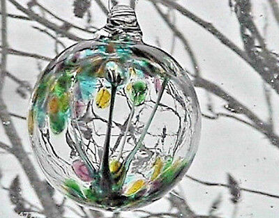 """Hanging Glass Ball 4"""" Diameter """"Pastel Tree"""" Witch Ball (1) WB26A"""