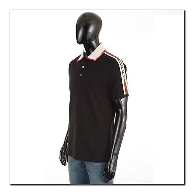 Gucci 680 Authentic New Black Cotton Polo With Gucci Logo Stripe