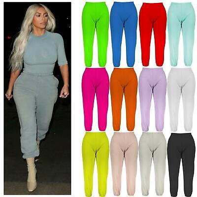 Ladies Tracksuit Bottoms Jogging Gym Active Pants Womens Cuffed Joggers Trousers