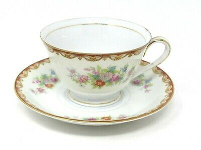 Vtg Diamond Roslyn Fine China Floral Cup and Saucer Set Hand Painted Japan 2 Pc