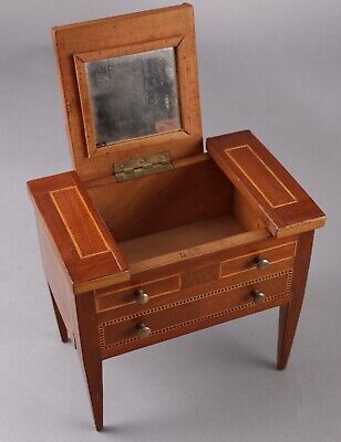 Antique French Salesman Sample Inlaid Mahogany Dressing Table for Fashion Dolls