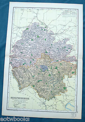 HEREFORDSHIRE -  Original Large Antique County Map -  BACON , 1897.