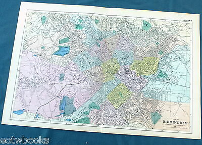 BIRMINGHAM -  Original Large Antique City Plan / Map -  BACON , 1897.