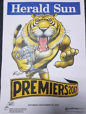 2017 RICHMOND AFL GRAND FINAL PREMIERSHIP POSTER MARK KNIGHT HERALD SUN xox