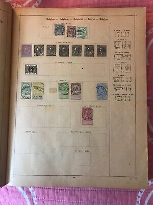 Antique Postage Stamp Page Belgium 29 Stamps 1884