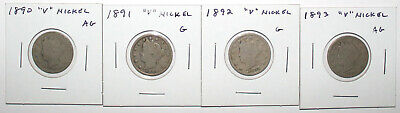 1890 1891 1892 1893 Liberty V Nickels, 4 Pieces Total, Circulated AG/G