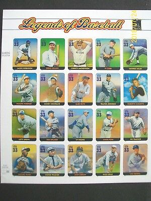 Mint US Stamps - Scott 3408   33c Legends of Baseball - Sheet of 20  NH