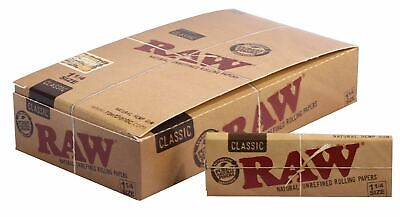 RAW Classic 1 1/4 Rolling Papers - 12 PACKS - Gum Natural Unrefined Purest